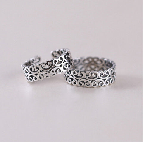 Sterling Silver Unique Design Threaded Adjustable Band Ring