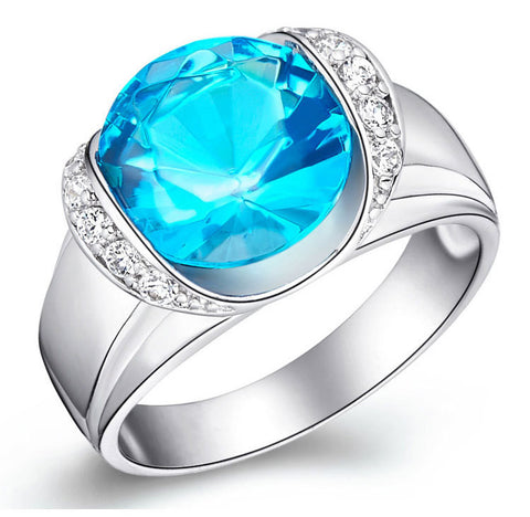 Sterling Silver Stunning Mega Round Cut Blue Topaz CZ Cocktail Ring Sz 5-9