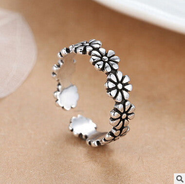 Sterling Silver Cute Multi Flower Adjustable Ring