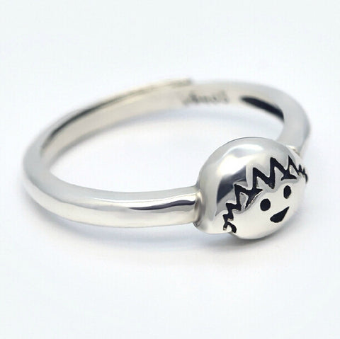 Sterling Silver Cute Avatar Retro Cartoon Design Adjustable Ring