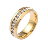 Stainless Steel Gold Finish Eternity CZ Band Ring Sz 6-12