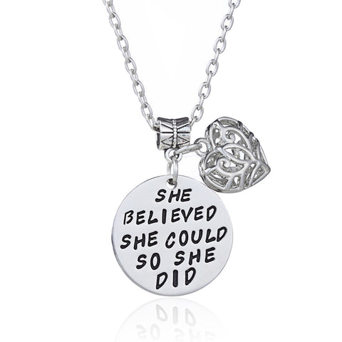 "18k Gold Plated White Gold Finish ""She believed she could so she did"" Pendant w/ Chain"