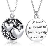 "18K Gold Plated White Gold Finish ""A Sister is Someone to Dream.."" Pendant w/ Chain"