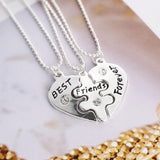 "18K Gold Plated White Gold Finish ""Best Friends Forever"" Pendants w/ Chains"