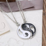 18K Gold Plated White Gold Finish Ying / Yang Pendants w/ Chains