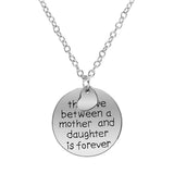 "18K Gold Plated White Gold Finish ""The Love Between a Mother and Daughter.."" Round Pendant w/ Chain"