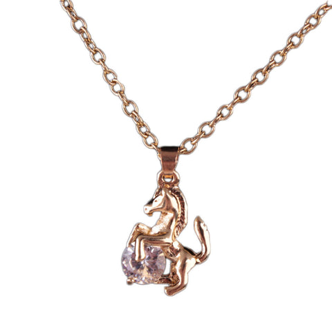 18k gold plated rose gold finish horse w cz pendant w chain 18k gold plated rose gold finish horse w cz pendant w chain aloadofball Image collections