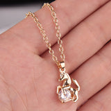 18K Gold Plated Rose Gold Finish Horse w/ Cz Pendant w/ Chain