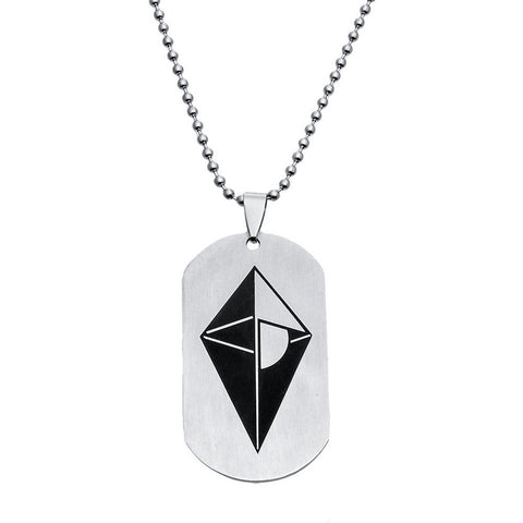 "Stainless Steel Cool & Unique ""No Man's Sky"" Rectangle Pendant w/ Chain"