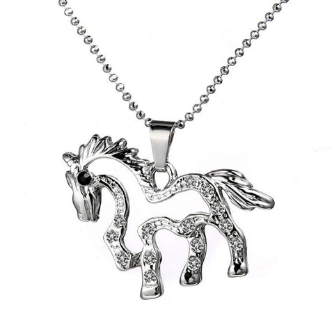 18K Gold Plated White Gold Finish Cute Cut Out Horse Design Pendant w/ Chain