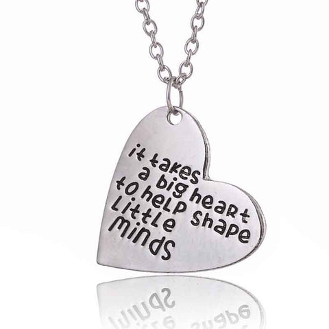 "18K Gold Plated White Gold Finish ""It takes a big Heart.."" Heart Pendant w/ Chain"