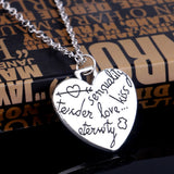 "18K Gold Plated White Gold Finish ""Tender Sensuality Love Kiss Eternity"" Heart Pendant w/ Chain"
