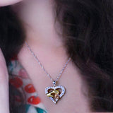 18K Gold Plated Three Tone Mother & Child Hand in Heart Pendant w/ Chain