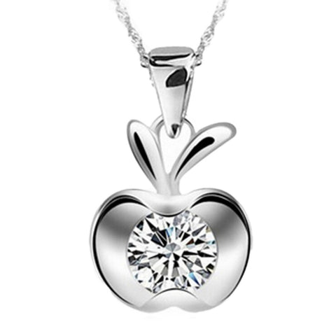 18K Gold Plated White Gold Finish Cute Apple Pendant w/ Chain
