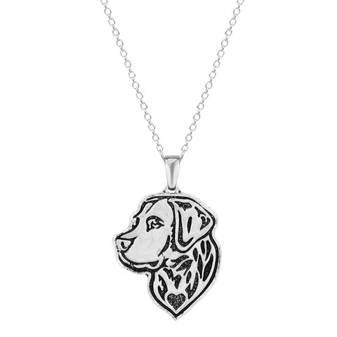 18K Gold Plated White Gold Finish Dog Beagle Pendant w/ Chain