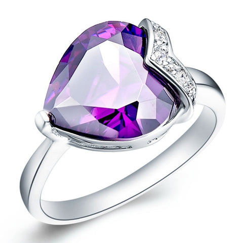 Sterling Silver Super Gorgeous Solitaire Amethyst Heart Cut Ring Sz 7-9