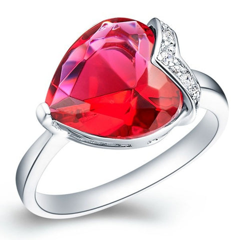 Sterling Silver Super Gorgeous Solitaire Ruby Red Heart Cut Ring Sz 7-9