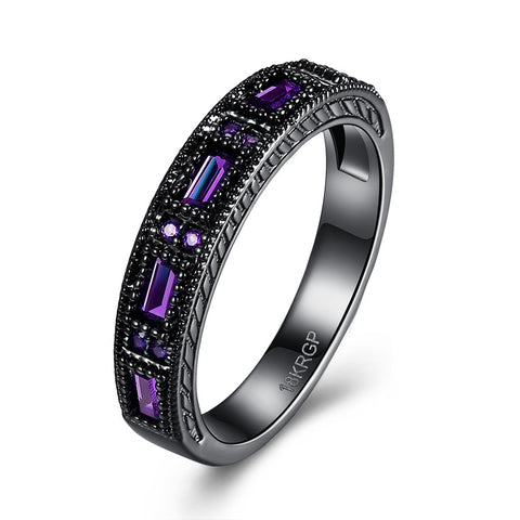 18K Gold Plated Black Gold Finish Amethyst Baguette / Round Stone Eternity Band Ring Sz 6-8