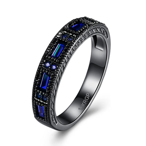 18K Gold Plated Black Gold Finish Blue Sapphire Baguette / Round Stone Eternity Band Ring Sz 6-8