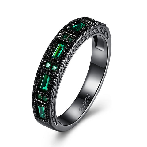 18K Gold Plated Black Gold Finish Green Emerald Baguette / Round Stone Eternity Band Ring Sz 6-8