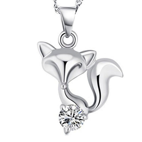 18k Gold Plated White Gold Finish Fox Design Pendant w/ Chain