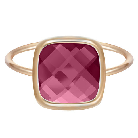 18K Gold Plated Unique Trillionth Cut Square Ruby Ring Sz 7