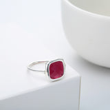 18K Gold Plated White Gold Finish Unique Trillionth Cut Square Ruby Ring Sz 7