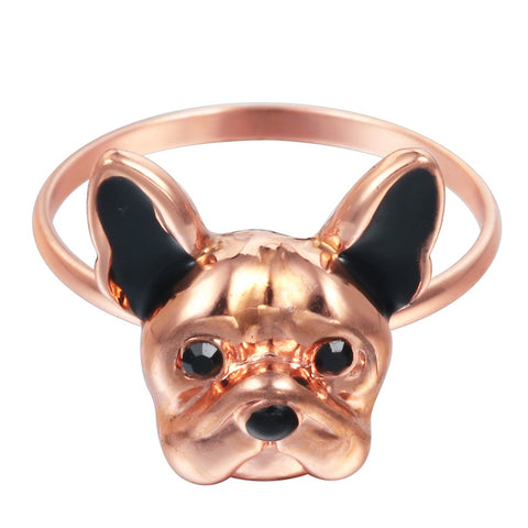 18K Gold Plated Rose Gold Finish Super Cute Dog Face Design Ring Sz 7
