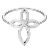 18K Gold Plated White Gold Finish Infinity Cross Ring Sz 7