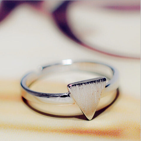 Sterling Silver Unique Triangle Design Adjustable Ring
