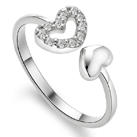 18K Gold Plated White Gold Finish Double Heart CZ Adjustable Ring