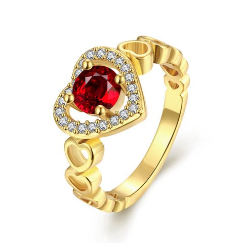 18K Gold Plated Ruby Red Heart CZ Ring Sz 8