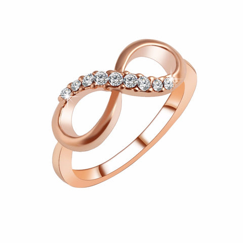 18K Gold Plated Rose Gold Finish Half CZ Infinity Ring Sz 6-8