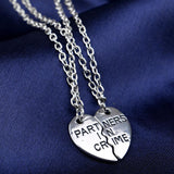 18K Gold Plated White Gold Finish Partners in Crime Pendants w/ Chains