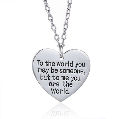 "18K Gold Plated White Gold Finish ""To the World....."" Heart Pendant w/ Chain"