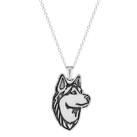 18K Gold Plated White Gold Finish Husky Dog Design Pendant w/ Chain