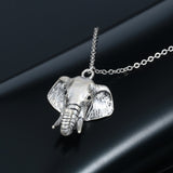 18K Gold Plated White Gold Finish Elephant Pendant w/ Chain
