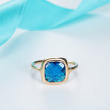 18K Gold Plated Unique Trillionth Cut Square Blue Sapphire Ring Sz 7