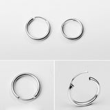 18K Gold Plated White Gold Finish Continuous Hoop Earrings 13mm-20mm