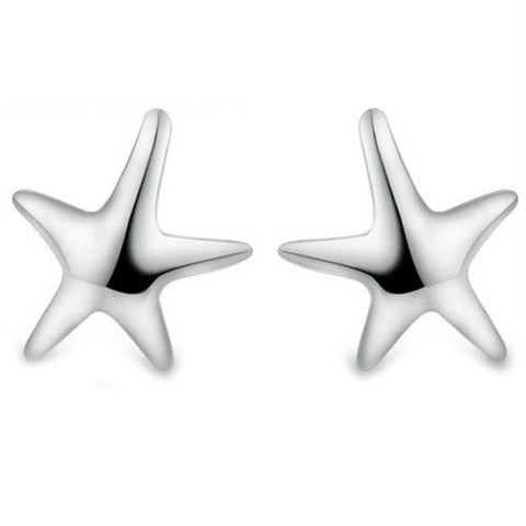 18K Gold Plated White Gold Finish Star Fish Stud Earrings