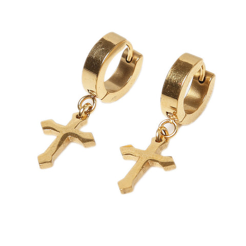 Titanium Gold Finish Cross & Hoop Dangle Earrings
