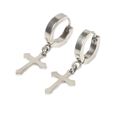 Titanium Classic Cross & Hoop Dangle Earrings