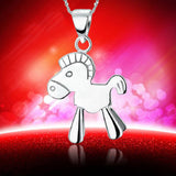 18K Gold Plated White Gold Finish Cute Horse Design Pendant