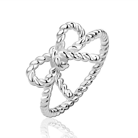 Sterling Silver Unique Design Bow Tie Infinity Ring Band Sz 7-8