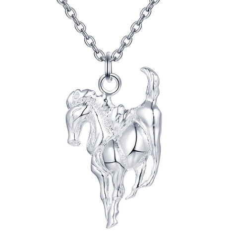 18K Gold Plated White Gold Finish Horse Design Pendant w/ Chain