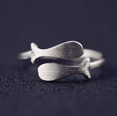 Sterling Silver Unique Double Whale Design Adjustable Band Ring