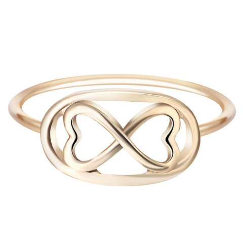18K Gold Plated Cute Design Double Heart Infinity Ring Sz 7