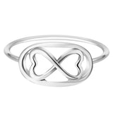 18K Gold Plated White Gold Finish Cute Design Double Heart Infinity Ring Sz 7