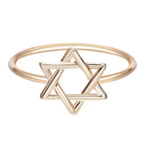 18K Gold Plated Classic Star of David Ring Sz 7