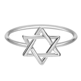 18K Gold Plated White Gold Finish Classic Star of David Ring Sz 7